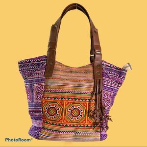 Noonday Collection Boho Vibrant Stitches Tote Bag